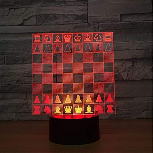 Schach Schachbrett Dekoration 3D Nachtlicht Schöne 7 Farbwechsel Lampe Weihnachtsschmuck Geschenk Für Baby Raumbeleuchtung - Sockel Schach