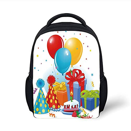 Kids School Backpack Birthday Decorations,Slice of Strawberry Pie Party Set Up with Hats Balloons Presents Stars,Multicolor Plain Bookbag Travel Daypack - 8 Slice Pie