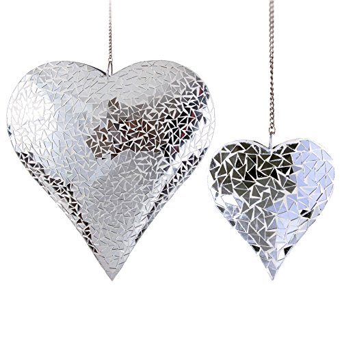 Small & Large Mirror Mosaic Heart Garden Hanging Ornaments