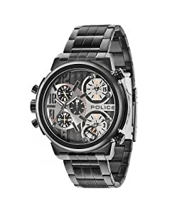 Police Python Men's Quartz Watch with Black Dial Chronograph Display and Black Stainless Steel Bracelet 13595JSB/61M