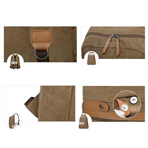 Retro Canvas Travel Rucksack Multifunktions Freizeit Rucksack Bergsteigen Wandern Camping Pack Tasche Umhängetasche Khaki