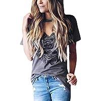 CLOOM Punk-T-Shirt Damen Kurzarm Halsband V-Ausschnitt Bluse Stilvolle Print T-Shirts Frauen mode Shirt Fashion Print Tops Party T-Shirts Eleganter Hollow Sling Frau Top Damen Streetwear