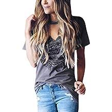 c22367afd172 CLOOM Punk-T-Shirt Damen Kurzarm Halsband V-Ausschnitt Bluse Stilvolle  Print T
