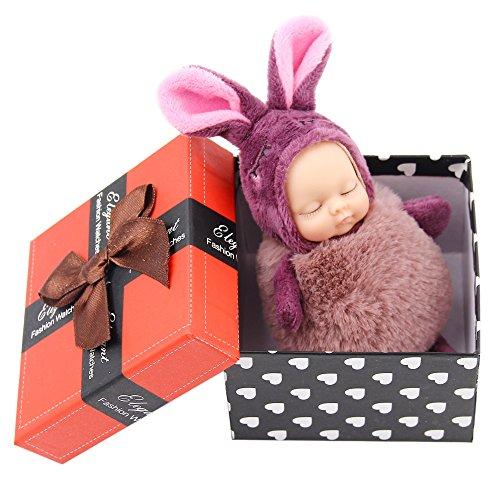 Mini Lifelike Neugeborene Baby Puppen von AOKE, Plüsch Tasche Charm mit Schlüsselring und mehrfarbige Auswahl dunkel lila