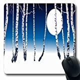 Luancrop Tappetini per Il Computer Tronco di Legno Inverno Foresta Clip Betulla Natura Astratto Bole Freddo Scuro Design Antiscivolo Tappetino per Mouse da Gioco oblungo