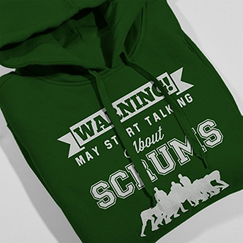 Rugby Warning May Start Talking About Scrums Men's Hooded Sweatshirt Bottle Green