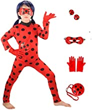 GREAHWD Drisfraz Lady Bug Vestido Infantil Niñas Costume Rojo Cosplay de Disfraz de Halloween Cumpleaños