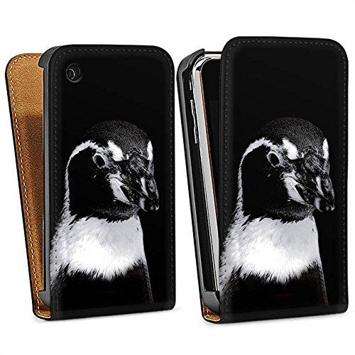 Apple iPhone 5s Housse étui coque protection Pingouin Oiseau Noir et blanc Sac Downflip noir