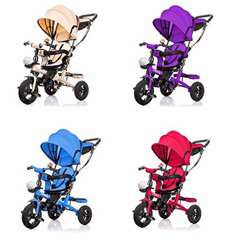 7in1 Kinderwagen Dreirad Kinder mit Dach Lenkstange Kinderdreirad Fahrrad Baby Kleinkinder (Blau)