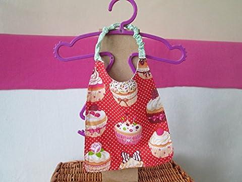 Bavoir bébé élastique rouge avec des cupcake multicolores