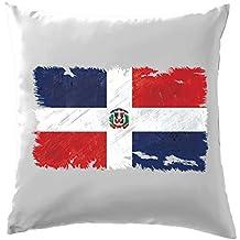"""République dominicaine Drapeau Style Grunge–Coussin–41x 41cm (40,6cm)–10couleurs, 100 % coton, blanc, 41 x 41cm (16"""")"""