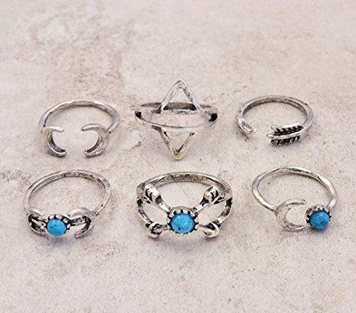 Interesting® 1SET = 6pcs Vintage-Schmuck Antik Silber vergoldet Türkis Mond Pfeil Finger Ring Set Geschenk für Frauen Damen