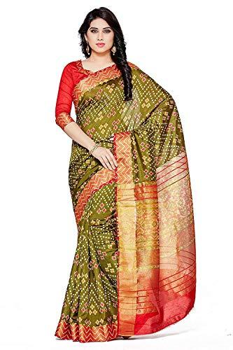 Women's Tassar Silk Saree (4114-Saln-1-Olv-Mrn_Olive Green_Free Size) Silk Border Print Dress