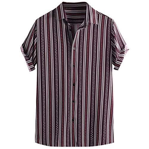 UINGKID Herren T-Shirt Kurzarm Slim fit Bunte Streifen Sommer lose Knöpfe Freizeithemd Bluse -