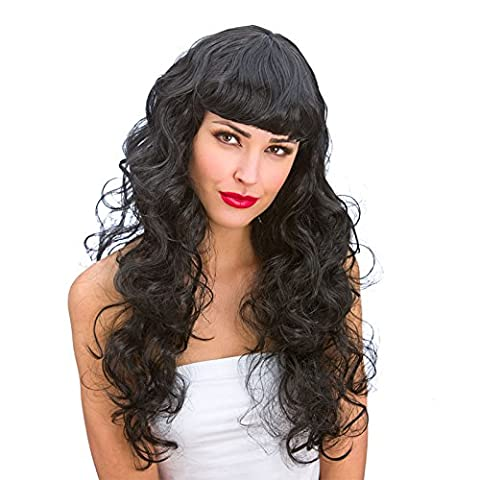 Ladies Foxy Wig Curly Black Long with
