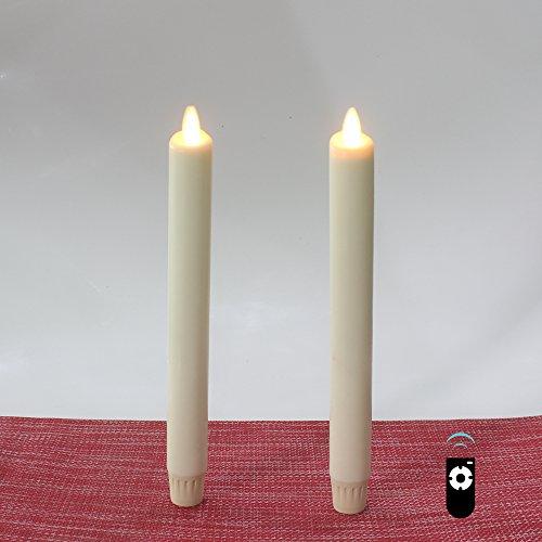 HueLiv Velas largas de LED con efecto de llama real, juego de 2 en cera real, 24 cm, blanco de marfil, sin parche, con pilas con temporizador y mando a distancia