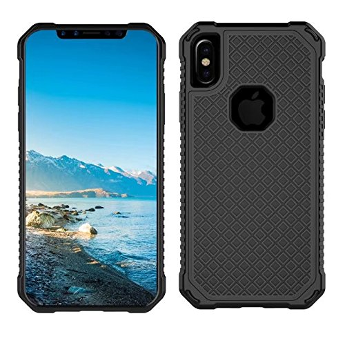 iPhone X Case, Armor Rugged Shockproof Protective Case with Air Bag Anti Drop Design, Soundmae Square Taxture Durable TPU Back Cover with Anti-Slip Edge for iPhone X [Black, Square] Square-Black