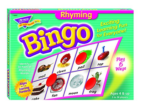 Fun to Know 36-Piece 333 g Rhyming Learning Bingo Games, White