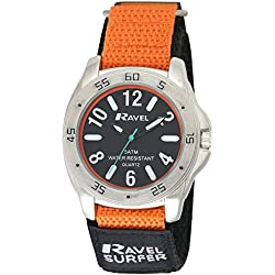 Ravel Men's Surfer 5ATM Quartz Watch with Black Dial Analogue Display and Multicolour Nylon Strap R5-11.8G