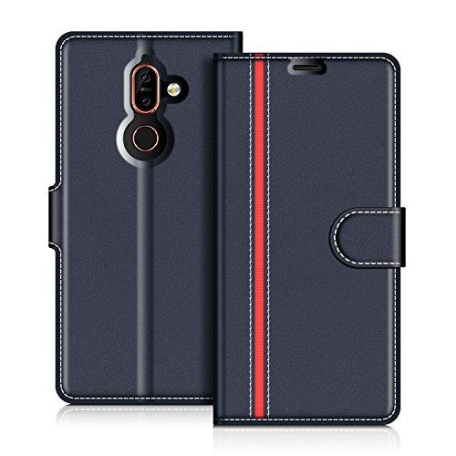 COODIO Nokia 7 Plus Hülle Leder Lederhülle Ledertasche Wallet Handyhülle Tasche Schutzhülle mit Magnetverschluss/Kartenfächer für Nokia 7 Plus, Dunkel Blau/Rot