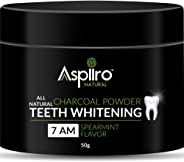 Aspiiro Natural 7 AM Organic Instant Teeth Whitening Charcoal Powder - 50 gm | All Natural Spearmint Flavor to Removes Tooth