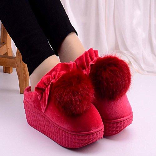 LaxBa Femmes Hommes Chaussures Slipper antiglisse intérieur Le rouge