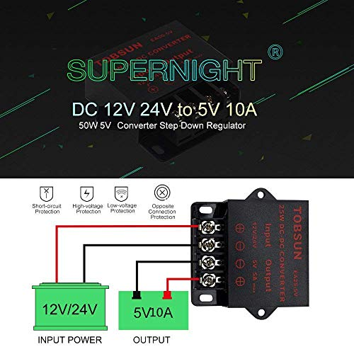 SUPERNIGHT Power Supply Transformer DC DC Step Down Voltage Reducer 12V 24V to DC 5V 10A 50W dc Buck Converter Adjustable for LED displays, Automotive, Electricity ect. Step-down Voltage Converter Transformer