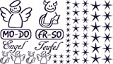 Autoaufkleber Sticker Aufkleber Set für Auto Schriftzug Engel Mo-Do Fr-So Teufe (040 violett)