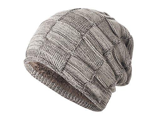 Yidarton Warm Gefütterte Beanie Wintermütze Flechtmuster mit Weichem Fleece-Futter Mütze (Khaki)
