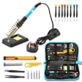 Cinoton 20pcs Soldering Iron Kit -Including 60W Temperature Control Soldering Iron with ON/OFF Switch -Tips, Solder Sucker,Screw Pen, wire stripper cutter,Solder Wire, Tweezers and Stand with Sponge