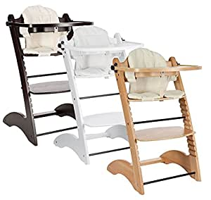 Design Wooden Highchair - with two seat cushion L-shape natural