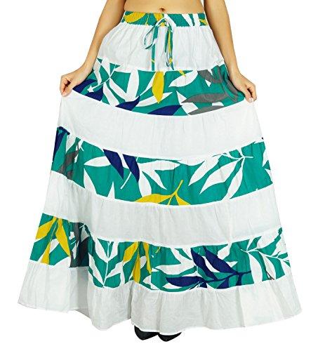 Amoghah Rockbaumwolllange Geflochtene Blattdruckboho Art Elastische Taillenböden Weiß und Grün