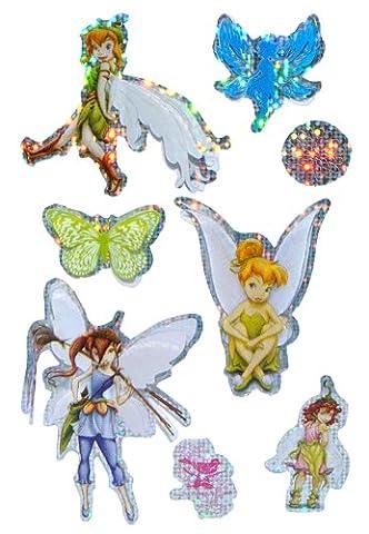 8 tlg. Set 3-D Sticker / Aufkleber - Disney Fairies Tinkerbell - selbstklebend für Kinder Fairy (Disney Tinkerbell Licht)