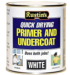 Rustins Quick Drying Primer & Undercoat White 500ml Bare Wood Plaster MDF Brickwork Cement Indoor Outdoor High Opacity House Office
