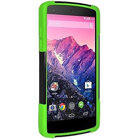 Amzer - Carcasa híbrida de doble capa con función atril para Google LG Nexus 5 D820, color negro y verde neón