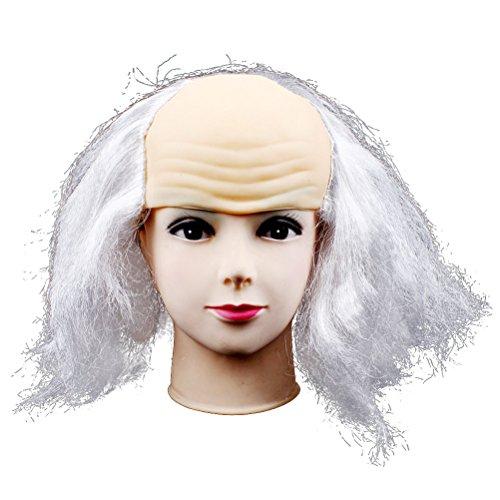 (BESTOYARD Halloween kahle Perücke lustige alte Dame Perücken Masquerade Supplies Perücke Kopf Maske Halloween Kostüm (hellgrau))