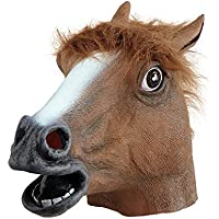 Lypumso Máscara Cabeza de Caballo de Látex de Gaucho Halloween Traje Máscara Navidad Fiesta Decoraciones Adulto Accesorio Del Traje (Marrón)