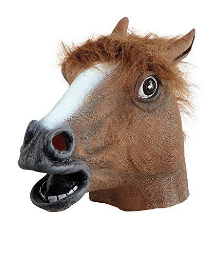 Kostüm Pferde Kopf (JRing Kopfmaske - Gummi Pferd Kopf Maske Braun, Latex Gummi Pferd Kopf Maske Kostüm Halloween Gangnam Stil Tanz-Eins)