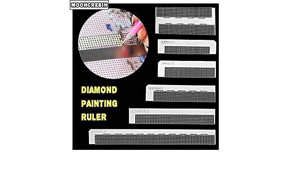 5j Diamant Peinture Outils Diy Ruler Broderie Strass Coller Autocollant Dotting Point Antiadh/ésives De Forage R/ègle Outils Accessoires 216 Trous