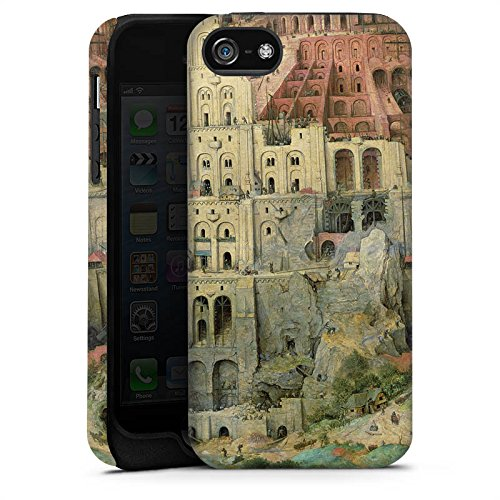 Apple iPhone 5 Housse Étui Silicone Coque Protection Tour de Babel Art Art Cas Tough terne