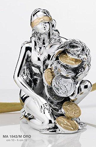 Dea bendata con cornucopia portafortuna con smalto oro cm10x12 laminato argento made in italy