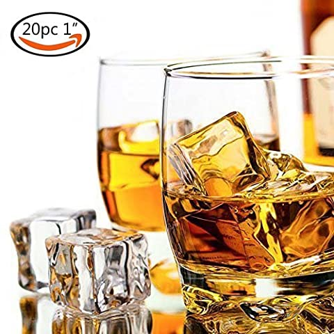 20 PCS Acrylic Ice Cubes Square Shape, Glass Luster Ice Cubes, Fake Artificial Acrylic Ice Cubes Crystal Clear for Photography Props Kitchen Toy Decoration