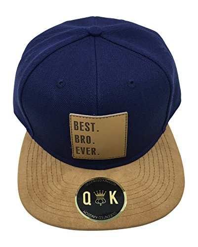 QUEENITED KINGDOM Family/Couple Snapback Suede (Best DAD, Best MOM, Best SIS, Best BRO, Best KID, Best GIRL, Best GF, Best BF.) (BEST BRO EVER | Blau)