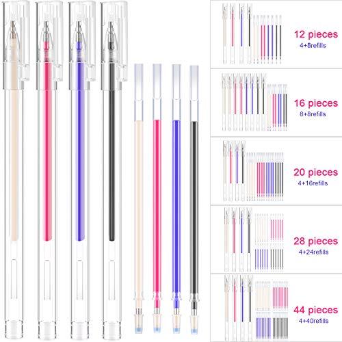 Bolígrafo Borrable de Calor Rotulador Borrable de Tela con 8 Recambios para Sastre Costura, y Acolchado, 4 Colores de Marcadores Borrables para Telas de Colores Variados (12 Piezas)