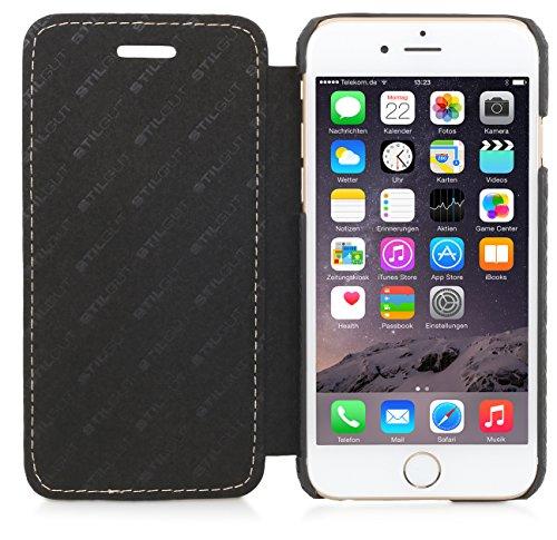 StilGut Book Type Case, Hülle Leder-Tasche für iPhone 6s. Seitlich klappbares Flip-Case aus Echtleder für das Original iPhone 6s (4,7 Zoll), Chester Chester