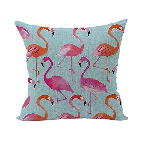 Nunubee Bettwäsche aus Baumwolle Dekorative Kissenbezug Platz Heim für Sofa Bett Auto Flamingos (Platz Stoff-sofa)
