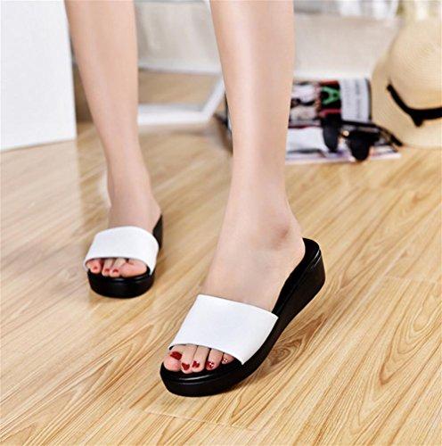 pengweiSandali donna in estate, pantofole con una parola di spessore inferiore White