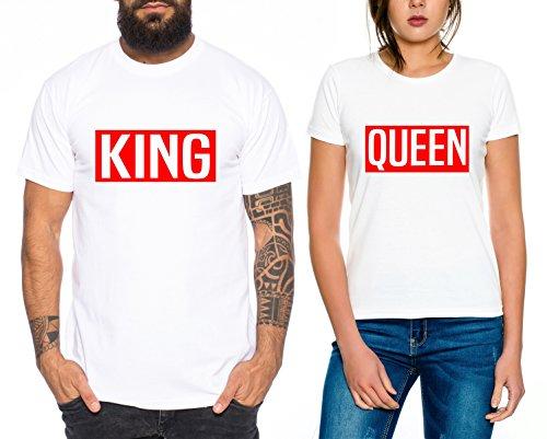 *Levi Partner Look Pärchen T-Shirt Set King Queen für Pärchen als Geschenk, Farbe:Weiss;Größe:Damen Gr. S + Herren Gr. S*