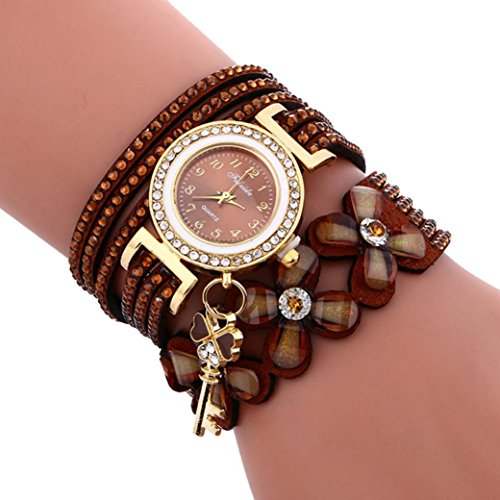 UNNSEAN Uhr,Mode Chimes Diamant-Leder-Armband-Dame Womans-Armbanduhr Armbanduhr Edelstahl Magnetische Mesh Armband Uhren Luxus Elegant Beiläufig Armbanduhren (Braun)
