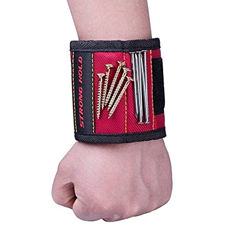 DIKETE® Magnetic Wrist Band Strap for Holding Screws, Nails, Bolts, Drilling Bits, Screwdriver Bits - Tool Storage Wristband Armband, Working Wrister, Repair Kit Accessory - Red